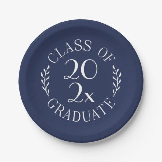 Class Of Chic Navy White Emblem Graduation Party Paper Plate