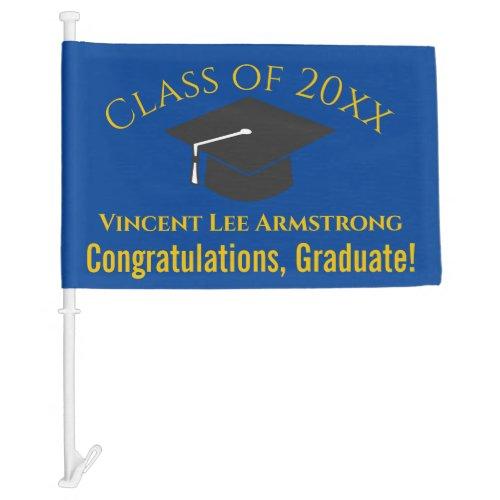 Class of Congratulations Graduate Blue  Gold Car Flag