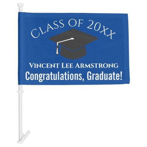 Class of Congratulations Graduate Blue  White Car Flag