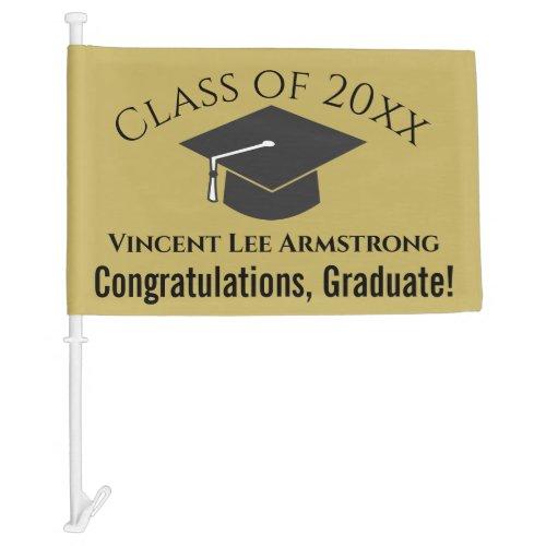 Class of Congratulations Graduate Gold  Black Car Flag
