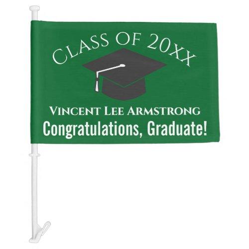 Class of Congratulations Graduate Green  White Car Flag