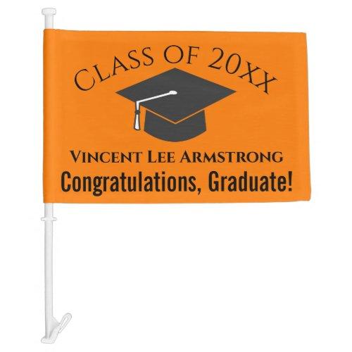 Class of Congratulations Graduate Orange  Black Car Flag
