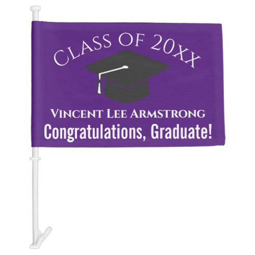 Class of Congratulations Graduate Purple  White Car Flag