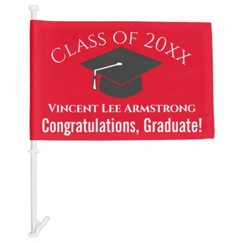 Class of Congratulations Graduate Red  White Car Flag