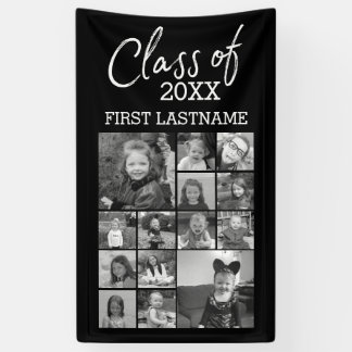 Class of  Custom Year and 14 Square Photo Collage Banner