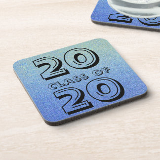 Class of Dazzling Blue Ombre Glitter Sand Look Beverage Coaster