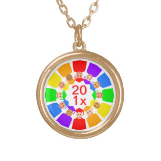 Class of ... Flower, Customizable Round Pendant Necklace