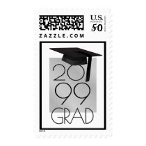 Class of... GRAD Cap Brushed Silver Editable Black Postage