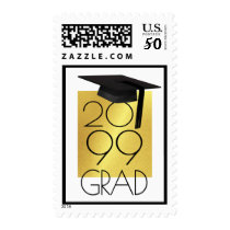 Class of... GRAD Cap Editable Black & Gold Postage