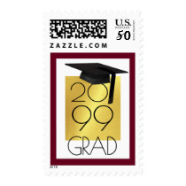 Class of... GRAD Cap Editable Burgundy/Gold, Photo Postage