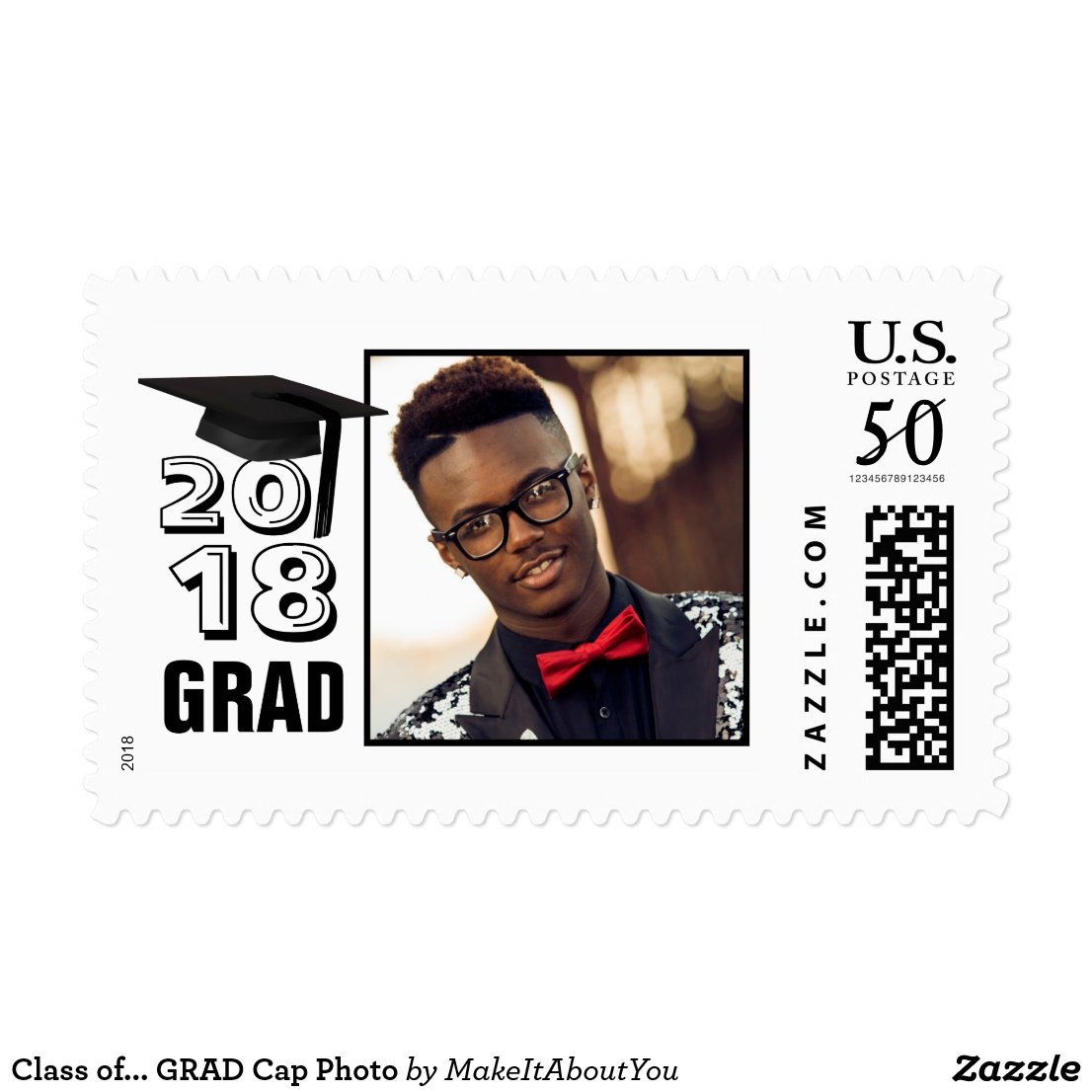 Class of... GRAD Cap Photo Postage