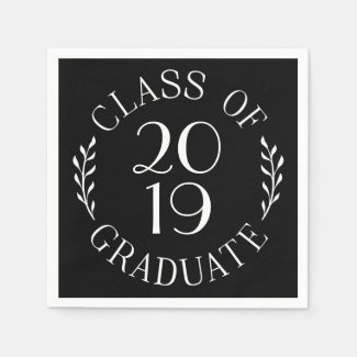 Class Of Graduate Chic White on Black Typography Napkin
