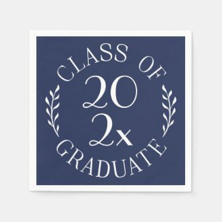 Class Of Graduate Chic White on Navy Typography Napkin