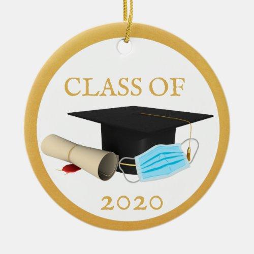 Class Of Graduate Coronavirus Mask Covid 2020 Ceramic Ornament