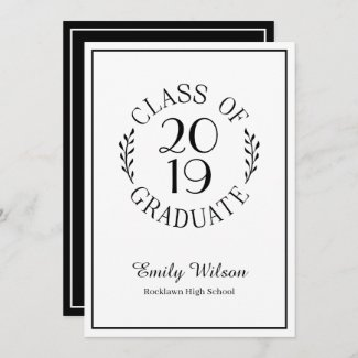 Class of Graduate Name Chic Black White Typography Announcement
