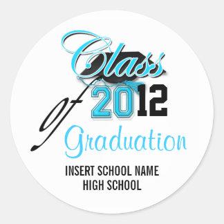"""Class of"" graduation announcement aqua black Classic Round Sticker"