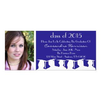 "Class Of Graduation Invitation (Blue Silhouette) 4"" X 9.25"" Invitation Card"