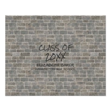 "Art Themed Class of | Gray Brick ""Write On My Wall"" Keepsake Poster"