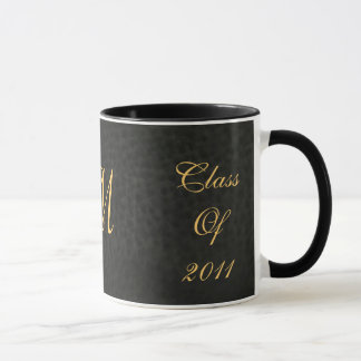 Class Of Monogram Black Leather Graduation Mug