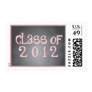 Class of Pink on Black Chalkboard Graduation Stamp