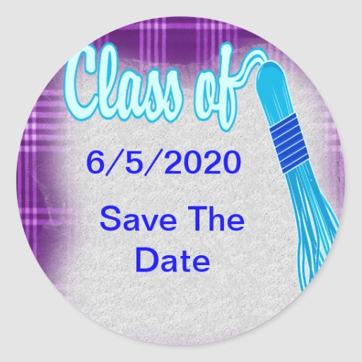 Class Of Plaid Graduation Set Classic Round Sticker