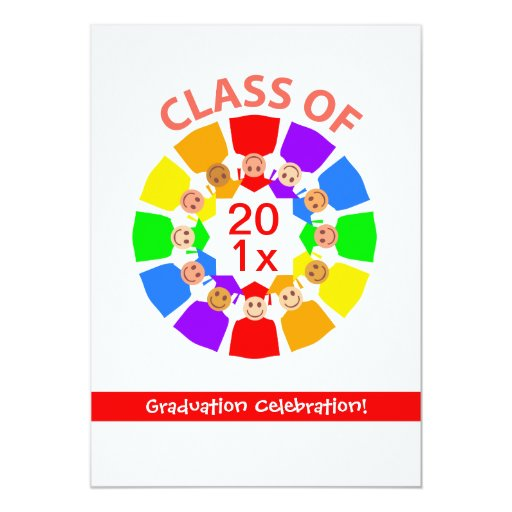 Class of ... Rainbow Flower 5x7 Paper Invitation Card