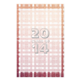 Class of # Raspberry Pink Blush Modern Plaid Ombra Stationery
