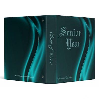 """Class Of "" Senior Graduation Teal Silk Binder"