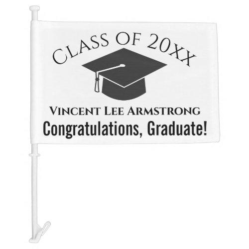 Class of XX Congratulations Graduation Cap w Name Car Flag