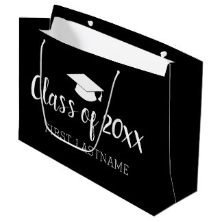 Class of Year and Name - Black Can Change Color Large Gift Bag