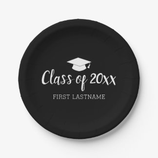 Class of Year and Name - Black Can Change Color Paper Plate