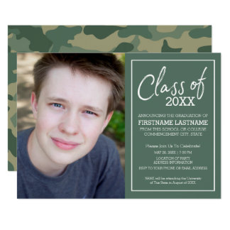 Class of Year Camouflage Graduation Photo - green Card