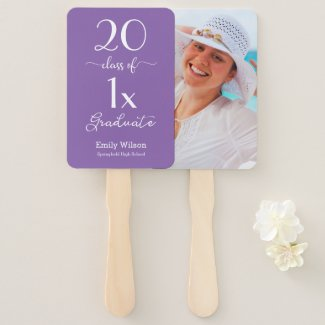 Class Of [YEAR] Graduate Photo Custom School Color Hand Fan