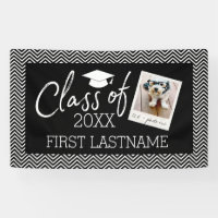 Class of Year  Graduation 1 Square Photo Chevrons Banner