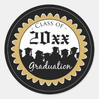 Class of [YEAR] Graduation Invitation Seal: black Classic Round Sticker