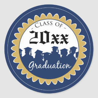 Class of [YEAR] Graduation Invitation Seal: blue Classic Round Sticker