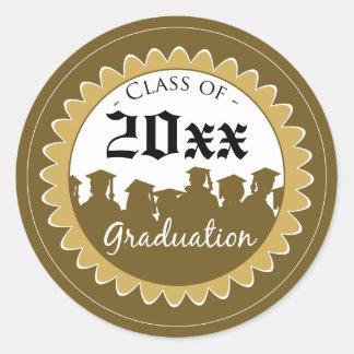 Class of [YEAR] Graduation Invitation Seal: gold Classic Round Sticker