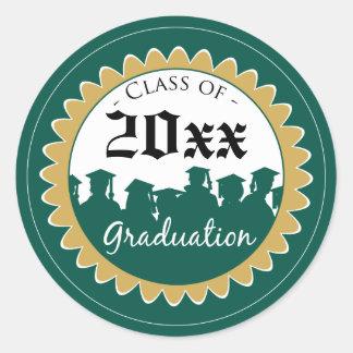 Class of [YEAR] Graduation Invitation Seal: green Classic Round Sticker
