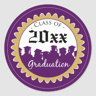 Class of [YEAR] Graduation Invitation Seal: purple Classic Round Sticker
