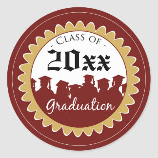 Class of [YEAR] Graduation Invitation Seal: red Classic Round Sticker