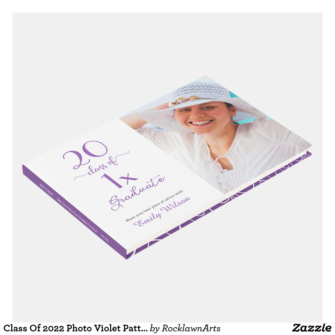 Class Of [YEAR] Photo Violet Pattern Graduation Guest Book