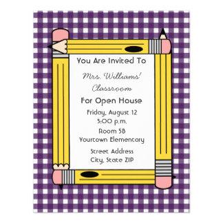 Class Open House: Yellow Pencils, Purple Gingham Invite