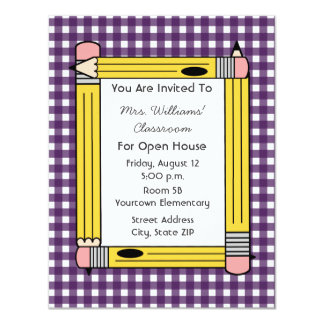 Class Open House: Yellow Pencils, Purple Gingham 4.25x5.5 Paper Invitation Card