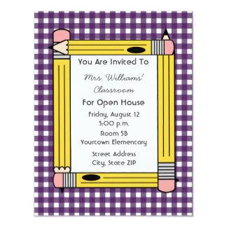 "Class Open House: Yellow Pencils, Purple Gingham 4.25"" X 5.5"" Invitation Card"