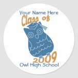 Class Owl Round Stickers