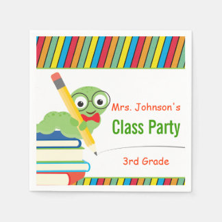 Class Party, Bookworm & Books Customizable Paper Napkin