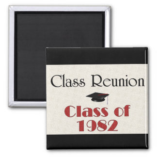 Class Reunion 1982 2 Inch Square Magnet