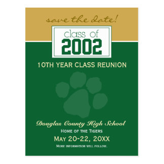 Class Reunion Save-the-Date Announcement green Post Card