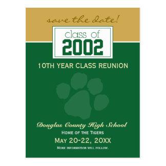 Class Reunion Save-the-Date Announcement (green) Postcard