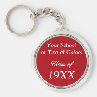 Class Reunion Souvenirs, School Name, Year, Colors Keychain